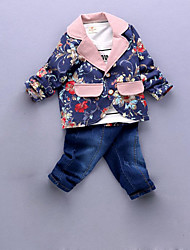 Boy's Casual/Daily Floral Tee / Pants / Suit & Blazer / Clothing Set,Cotton Spring / Fall Blue / Pink / Beige / Gray