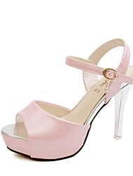 Damen-Sandalen-Lässig-PU-Stöckelabsatz-Vorne offener Schuh-Rosa / Weiß