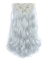 7Pcs/set Clip In Hair Extensions Natural Curly Wavy Hair Extension Hairpiece Heat Resistant Synthetic Hair Silver Gray