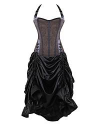 Burvogue Women's Elegant Jacquard Gothic Steampunk Overbust Corset Dress Tops