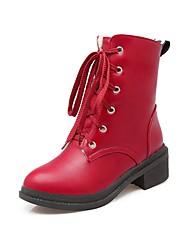 Women's Shoes PU Winter Platform Heels Dress / Casual Low Heel Others / Black / Red / White / Almond Walking