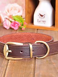 Chien Colliers Ajustable/Réglable Solide Rouge / Noir / Marron Vrai cuir