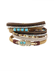 Fashion Women Multi Rows Natural Stone Set Wrap Leather Bracelet