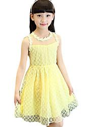 Girl's Casual/Daily Floral Dress,Others Summer White / Yellow