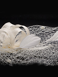 Women's Lace / Feather / Fabric Headpiece-Wedding / Special Occasion Fascinators 1 Piece Clear Round 24cm