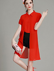 MIUCO Casual/Daily / Work Simple Summer Set,Solid Shirt Collar Short Sleeve Red / White Polyester Thin