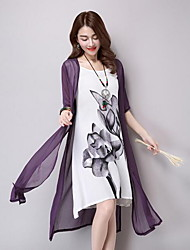 Women's Casual/Daily Simple Shift Dress,Floral Round Neck Midi ½ Length Sleeve Purple Cotton / Linen Summer