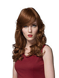 Perfect Long Wavy Light Auburn Best Quality Super Smooth Natural Wigs Human Hair