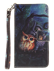 Painted Owl Pattern Card Can Lanyard PU Phone Case For LG G3 G4 G5 K7 K8 K10