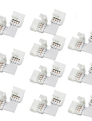 10pcs 10mm L-shape 4-conductor Quick Splitter RGB LED Connector for SMD 5050 RGB LED Strip Lights, (10 Pack)
