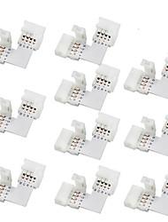 10ks 10 mm ve tvaru L 4-vodič rychlá splitter RGB LED konektor pro SMD 5050 RGB LED strip světla, (10 ks)