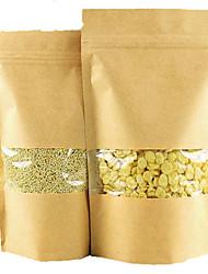sacos de papel kraft kraft sementes ziplock alimentos sacos para embalagem de chá sacos selados sacos de frutas secas um pacote de dez