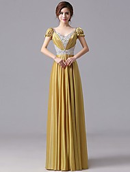 Formal Evening Dress Sheath / Column V-neck Floor-length Satin / Polyester with Beading