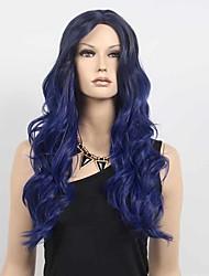 cosplay perruque Synthétique Fabriqué à la machine Perruques Long Bleu marine Cheveux