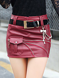Damen Röcke einfarbigAusgehen / Lässig/Alltäglich Einfach Mini PU Micro-elastisch Herbst