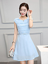 Women's Going out Street chic A Line Dress,Solid Round Neck Above Knee Sleeveless Blue Polyester Fall