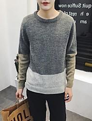 Herren Pullover-Patchwork Freizeit Wolle Lang Grau