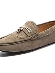 Masculino-Sapatos de Barco-Rasos-Rasteiro-Preto / Azul / Taupe / Caqui-Couro-Casual