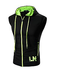 Men's Hit Color Zipper Hooded Sleeveless Vest,Cotton / Spandex Sleeveless-Green / Red / White / Gray