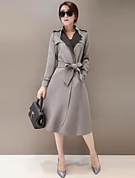 Damen Solide Street Schick Ausgehen Trenchcoat,Herbst / Winter V-Ausschnitt Langarm Rot / Grau Mittel Polyester