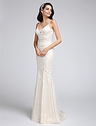 LAN TING BRIDE Trumpet / Mermaid Wedding Dress Lacy Look Court Train Spaghetti Straps Tulle with Appliques