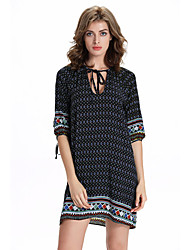 Women's Beach / Holiday Cute Loose Dress,Geometric U Neck Above Knee ½ Length Sleeve Black Rayon Summer