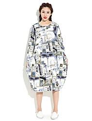HANBELLE Women's Round Neck Long Sleeve Tea-length Dress-875#