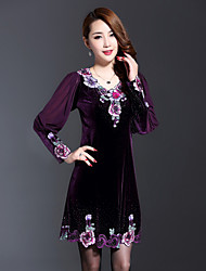 Boutique S Women's Plus Size / Going out Vintage Sheath Dress,Embroidered V Neck Above Knee Long Sleeve Purple Spandex