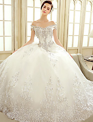 Ball Gown Wedding Dress Floor-length Off-the-shoulder Tulle with Crystal / Embroidered