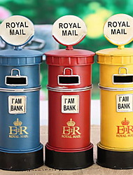 Large European and American Style Retro Iron Mailbox Piggy Bank (Random Colors)