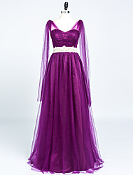 Formal Evening Dress - Elegant A-line V-neck Floor-length Satin Tulle with Crystal Detailing Pleats