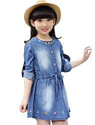 Girl's Cotton Spring/Autumn Fashion Embroidered Solid Color Long Sleeve Cowboy Denim Dress