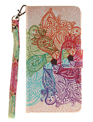 Painted Colorful Flowers Pattern Card Can Lanyard PU Phone Case For Huawei P9 Lite P9 P8 Lite