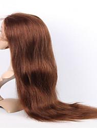 evawigs peruano cabelo humano 10-26 polegadas meio de seda cor marrom peruca completa reta virgem do laço com cabelo do bebê