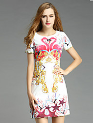 Boutique S Women's Casual/Daily Vintage Shift Dress,Floral Round Neck Above Knee Short Sleeve White Polyester Summer