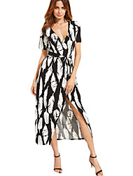 Women's Going out Simple Swing Dress,Print V Neck Asymmetrical Short Sleeve Black Others Summer