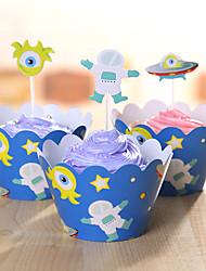 Aniversário Festa Tableware-24Peça/Conjunto Acessório para Bolo Marcador Papel de Cartão Tema rústico Other Não-Personalizado Azul