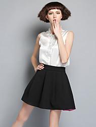 DREAMY LAND  Women's Going out Cute Summer Set Skirt,Solid V Neck Sleeveless White Silk Opaque