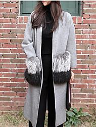 Women's Casual/Daily Street chic Long Cardigan,Solid V Neck Long Sleeve Cotton All Seasons Medium