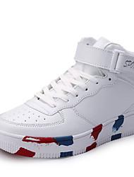 Herren-Sneaker-Lässig Sportlich-PU-Flacher AbsatzSchwarz Weiß Hellgrün