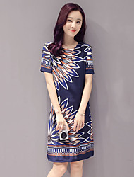Women's Casual/Daily Vintage Sheath Dress,Print Round Neck Above Knee Short Sleeve Blue Polyester All Seasons Mid Rise