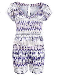 Women's Print Purple Jumpsuits,Boho V Neck Short Sleeve