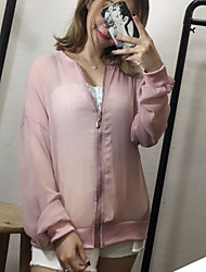 Women's Going out / Casual / Fall Cloak/Capes,Solid Hooded Long Sleeve Pink / White Polyester Sheer