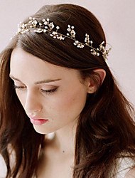 White Pearl Lace Up Headbands for Lady Wedding Party