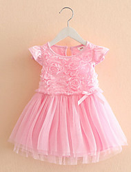 The New Children'S Clothing Rose Mesh Baby Girls Short-Sleeved Dress Child