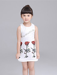 KIMOCAT Girl's Casual/Daily Floral Dress,Cotton Summer Pink / White