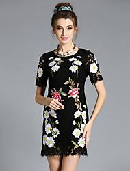 Plus Size Women Vintage Elegant High Fashion Handmade Embroidery Lace Hollow Dress