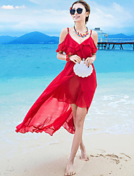 Women's Ruffles and Frills Beach / Holiday Boho Chiffon Dress,Solid Strap Asymmetrical Sleeveless Red Polyester Summer