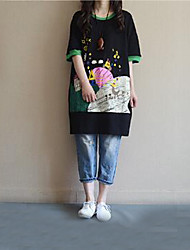 Damen Druck Einfach Lässig/Alltäglich T-shirt,Rundhalsausschnitt Sommer Kurzarm Blau / Weiß / Schwarz Baumwolle Mittel