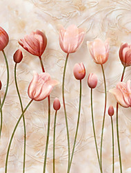 JAMMORY 3XL(14'7''*9'2'')3D Wallpaper For Home Contemporary Wall Covering Canvas Material Pink Flowers